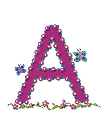 bead: Letter A from Bead Alphabet is deep rose in color.  Letter is outlined completly in pink, blue and green beads and balls.