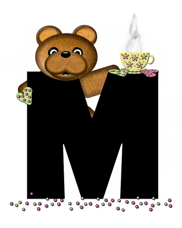 frosted: The letter M, in the alphabet set Teddy Tea Time, is black.  Teddy bear enjoys a cup of hot tea with heart shaped and frosted cookies.  Candy sprinkles cover floor.