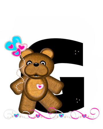 cutie: The letter G, in the alphabet set Teddy Valentines Cutie, is black.  Brown teddy bear holds heart shaped balloons in pink and blue.  String of pearls serve as string.