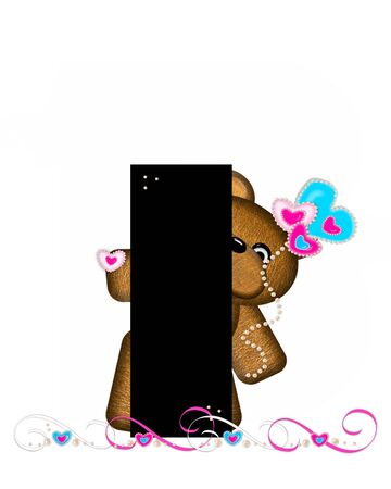 frilly: The letter I, in the alphabet set Teddy Valentines Cutie, is black.  Brown teddy bear holds heart shaped balloons in pink and blue.  String of pearls serve as string.