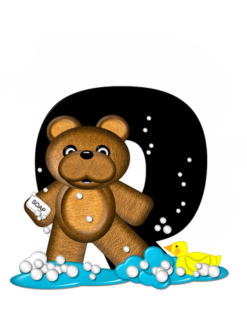 The letter Q, in the alphabet set Teddy Bath Time, is black and sits on a pool of spilled bath water.  Brown teddy bear, bubbles and yellow duck decorate letter.