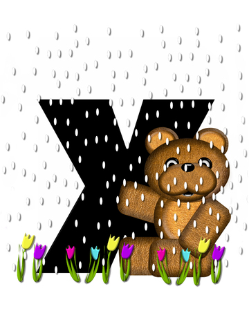 showers: The letter X, in the alphabet set Teddy April Showers, is black.  Brown teddy bear and flowers decorate letter.  Tulips bloom as April showers fall.