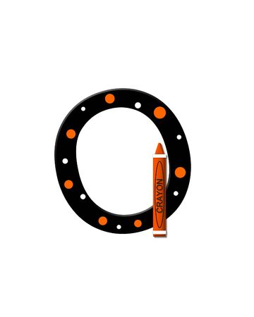 The letter O, in the alphabet set Black to School, is black with polka dots.  A crayon is added for further decoration.