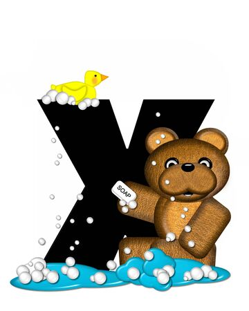 bathtime: The letter X, in the alphabet set Teddy Bath Time, is black and sits on a pool of spilled bath water.  Brown teddy bear, bubbles and yellow duck decorate letter. Stock Photo