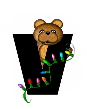 teddy bear christmas: The letter V, in the alphabet set Teddy Christmas Lights, is black. Teddy Bear holds a string of Christmas lights and decorates letter. Stock Photo
