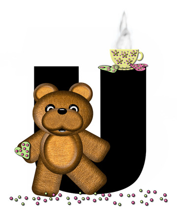 frosted: The letter U, in the alphabet set Teddy Tea Time, is black.  Teddy bear enjoys a cup of hot tea with heart shaped and frosted cookies.  Candy sprinkles cover floor.