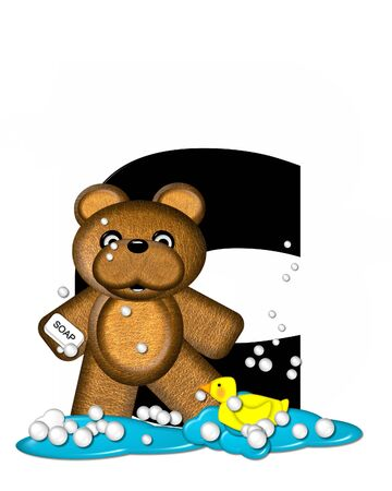 bathtime: The letter C, in the alphabet set Teddy Bath Time, is black and sits on a pool of spilled bath water.  Brown teddy bear, bubbles and yellow duck decorate letter.