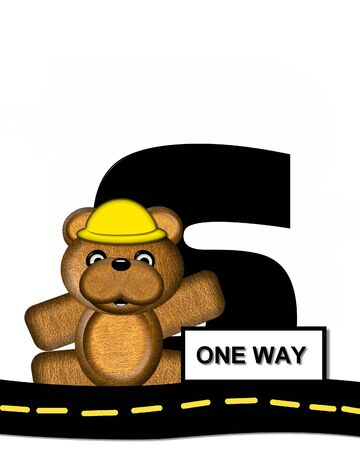 highway signs: The letter S, in the alphabet set Teddy Highway Work, is black and sits on black highway. Teddy bear, hard hat, and highway signs decorate letter.