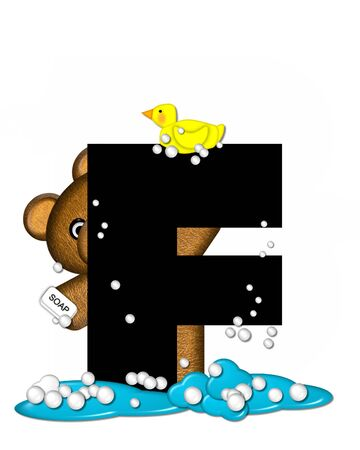bath time: The letter F, in the alphabet set Teddy Bath Time, is black and sits on a pool of spilled bath water.  Brown teddy bear, bubbles and yellow duck decorate letter.