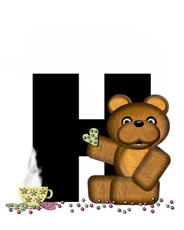 frosted: The letter HH, in the alphabet set Teddy Tea Time, is black.  Teddy bear enjoys a cup of hot tea with heart shaped and frosted cookies.  Candy sprinkles cover floor.