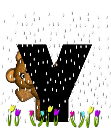 showers: The letter Y, in the alphabet set Teddy April Showers, is black.  Brown teddy bear and flowers decorate letter.  Tulips bloom as April showers fall. Stock Photo