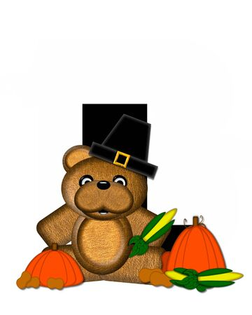 The letter L, in the alphabet set Teddy Thanksgiving, is black.  It is decorated with a cute brown teddy bear wearing a Pilgrims hat.  Pumpkin and harvest vegetables sit besides letter.