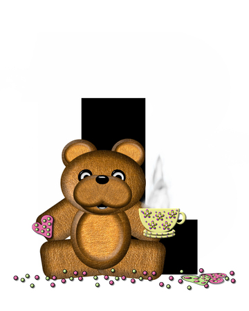 frosted: The letter L, in the alphabet set Teddy Tea Time, is black.  Teddy bear enjoys a cup of hot tea with heart shaped and frosted cookies.  Candy sprinkles cover floor.