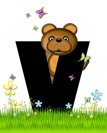 grassy field: The letter V, in the alphabet set Teddy Butterfly Field, is black.  Teddy bear chases colorful butterflies across a grassy field with wildflowers.