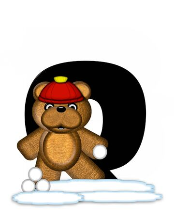 snow cap: The letter Q, in the alphabet set Teddy Wintertime, is black. Teddy stands on snow making and throwing snowballs.  He is wearing a red cap. Stock Photo