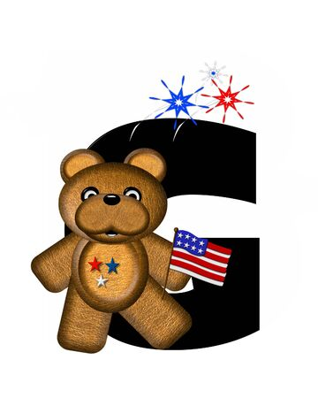The letter G, in the alphabet set Teddy 4th of July, is black.  Brown teddy bear holds American flag.  Fireworks in red, white and blue explode around him.