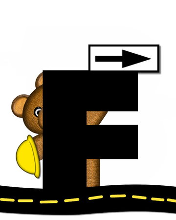 highway signs: The letter F, in the alphabet set Teddy Highway Work, is black and sits on black highway. Teddy bear, hard hat, and highway signs decorate letter. Stock Photo