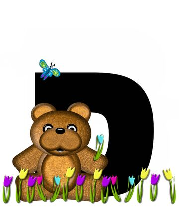 picking: The letter D, in the alphabet set Teddy Picking Flowers, is black.  Teddy bear picks tulips and butterfly flutters overhead.