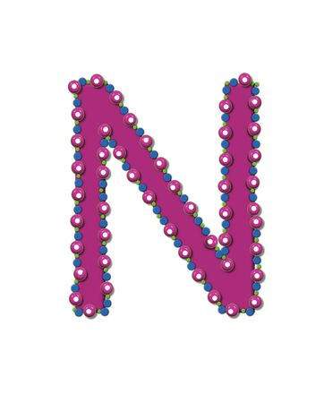 Letter N from Bead Alphabet is deep rose in color.  Letter is outlined completly in pink, blue and green beads and balls.