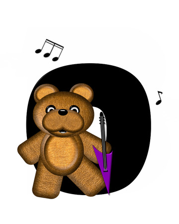musical score: The letter O, in the alphabet set Teddy Guitar Music, is black.  Teddy bear, electric guitar and musical notes decorate letter. Stock Photo