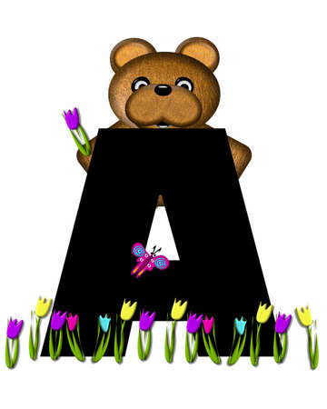picking: The letter A, in the alphabet set Teddy Picking Flowers, is black.  Teddy bear picks tulips and butterfly flutters overhead.