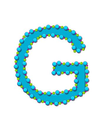 bead: Letter G from Bead Alphabet is bright turquoise in color.  Letter is outlined completly in pink, turquoise and green beads and balls.
