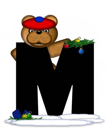 boughs: The letter M, in the alphabet set Teddy Christmas Boughs, is black and sits on pile of snow.  Teddy Bear wearing cap and mittens, decorates letter with Christmas boughs and ornaments.
