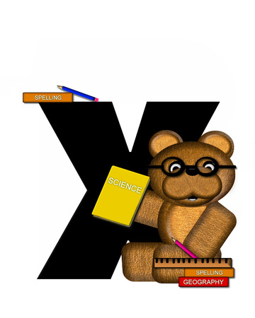 scrap book: The letter X, in the alphabet set Teddy Learning, is black. Teddy bear decorates letter and he is wearing glasses.  Books and pencils surround him.