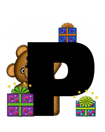 gift wrapped: The letter P, in the alphabet set Teddy Gifts Galore, is black.  Teddy bear, gift wrapped packages and stars decorate letter.