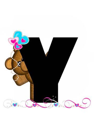 """알파벳 """"Teddy Valentine 's Cutie""""의 문자 Y는 검정색입니다. 갈색 곰 심장 모양의 풍선 핑크와 블루에 보유하고있다. 진주의 끈은 끈으로 봉사한다"""