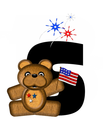 bear s: The letter S, in the alphabet set Teddy 4th of July, is black.  Brown teddy bear holds American flag.  Fireworks in red, white and blue explode around him.