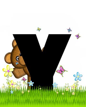 grassy field: The letter Y, in the alphabet set Teddy Butterfly Field, is black.  Teddy bear chases colorful butterflies across a grassy field with wildflowers.
