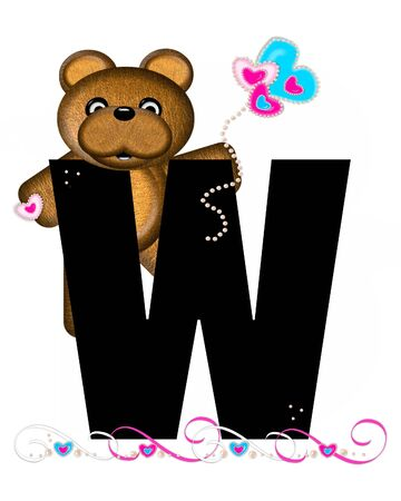 frilly: The letter W, in the alphabet set Teddy Valentines Cutie, is black.  Brown teddy bear holds heart shaped balloons in pink and blue.  String of pearls serve as string.