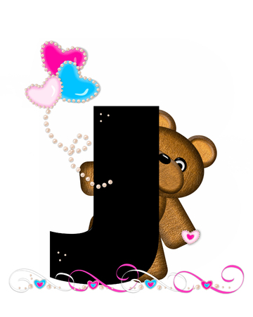 cutie: The letter J, in the alphabet set Teddy Valentines Cutie, is black.  Brown teddy bear holds heart shaped balloons in pink and blue.  String of pearls serve as string.