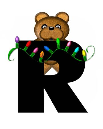 string of lights: The letter R, in the alphabet set Teddy Christmas Lights, is black. Teddy Bear holds a string of Christmas lights and decorates letter.