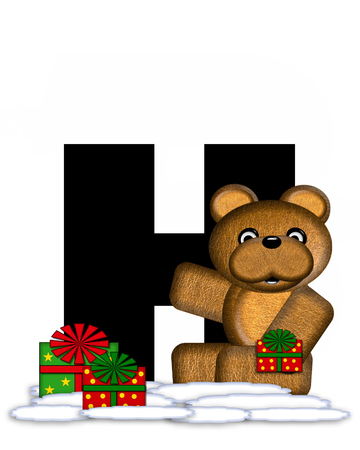 teddy bear christmas: The letter H, in the alphabet set Teddy Christmas, is black and sits on pile of snow.  Teddy Bear and presents decorate each letter. Stock Photo
