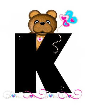 The letter K, in the alphabet set Teddy Valentines Cutie, is black.  Brown teddy bear holds heart shaped balloons in pink and blue.  String of pearls serve as string. Stock Photo