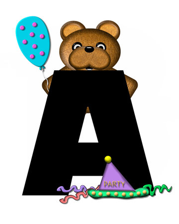 The letter A, in the alphabet set Teddy Birthday, is black.  Teddy bear, party hat, and balloons decorate letter.