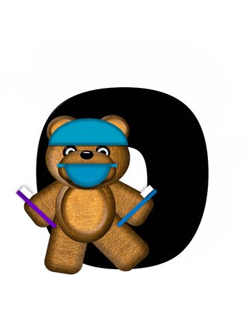 checkup: The letter O, in the alphabet set Teddy Dental Checkup, is black.  Teddy bear wearing a dental mask and hat represents dentist holding various dental tools. Stock Photo