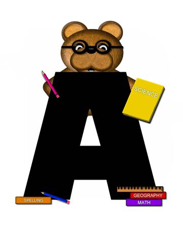 scrap book: The letter A, in the alphabet set Teddy Learning, is black. Teddy bear decorates letter and he is wearing glasses.  Books and pencils surround him.