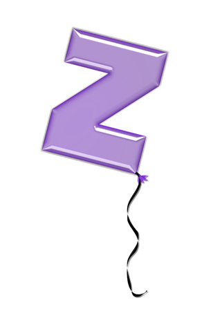 The letter Z, in the alphabet set Balloon Jewels, resembles an inflated balloon tied at the knot with a black curly string.  Letters, in set, come in a mixture of colors and tilting angles.