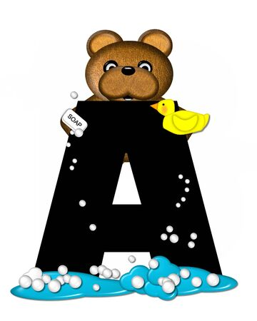 The letter A, in the alphabet set Teddy Bath Time, is black and sits on a pool of spilled bath water.  Brown teddy bear, bubbles and yellow duck decorate letter.