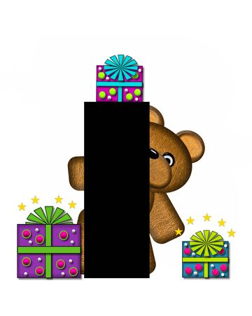 gift wrapped: The letter I, in the alphabet set Teddy Gifts Galore, is black.  Teddy bear, gift wrapped packages and stars decorate letter.