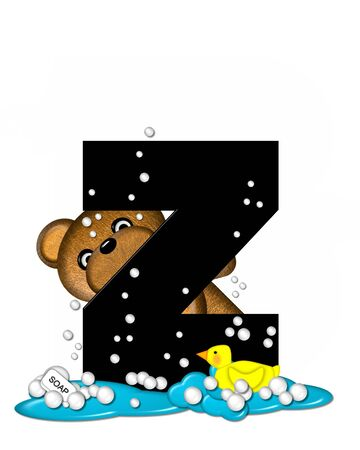 bath time: The letter Z, in the alphabet set Teddy Bath Time, is black and sits on a pool of spilled bath water.  Brown teddy bear, bubbles and yellow duck decorate letter.