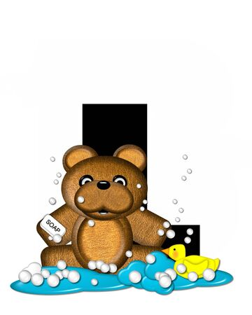bath time: The letter L, in the alphabet set Teddy Bath Time, is black and sits on a pool of spilled bath water.  Brown teddy bear, bubbles and yellow duck decorate letter.