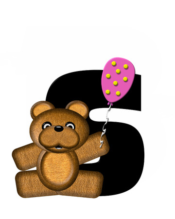 bear s: The letter S, in the alphabet set Teddy Birthday, is black.  Teddy bear, party hat, and balloons decorate letter.