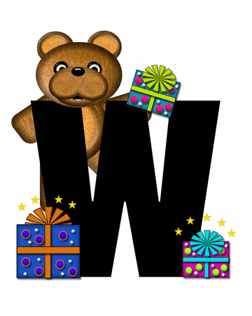 gift wrapped: The letter W, in the alphabet set Teddy Gifts Galore, is black.  Teddy bear, gift wrapped packages and stars decorate letter. Stock Photo