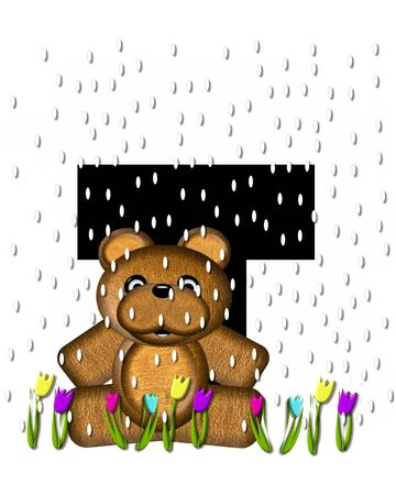 april showers: The letter T, in the alphabet set Teddy April Showers, is black.  Brown teddy bear and flowers decorate letter.  Tulips bloom as April showers fall. Stock Photo