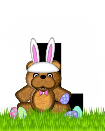 The letter L, in the alphabet set Teddy Easter, is black. Teddy wears an Easter Rabbit costume and hunts Easter Eggs hidden in the grass. Stock Photo