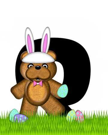 The letter Q, in the alphabet set Teddy Easter, is black. Teddy wears an Easter Rabbit costume and hunts Easter Eggs hidden in the grass.